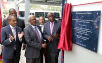 Unveiling the commemorative plaque from left are President of NESC Kern Dass, Minister of State in the Ministry of Education Dr Lovell Francis, Minister of Education Anthony Garcia. NESC director and Sector Head -ANSA Automotive, Jerome Borde and THA Chief Secretary Kelvin Charles.