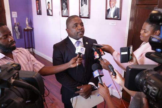 Secretary of Finance and the Economy Joel Jack fields questions from the media after presenting the budget.
