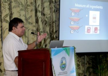 Concrete technologist Danny Jairam makes his presentation.