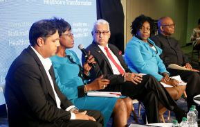 Secretary of Health, Wellness and Family Development Dr. Agatha Carrington, second from left, answers a question form the audience. Also in photo are, from left, Chief Medical Officer Dr Roshan Parasram, Minister of Health Terrence Deyalsingh, Tobago Regional Health Authority (TRHA) deputy chairman and director (Law) Ingrid Melville, and TRHA acting Chief Executive Officer Godwyn Richardson.