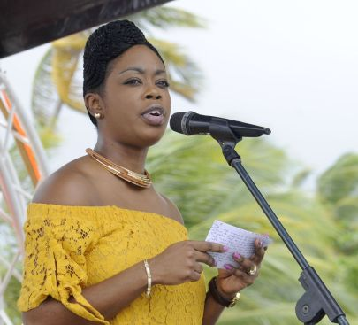 Secretary of the Division of Tourism, Culture, and Transportation Nadine Stewart Phillips greets the audience.The Tobago House of Assembly was an event sponsor.