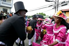 """Members of the """"wedding"""" party celebrate following the ceremony, which was held at the Moriah Moravian Church."""