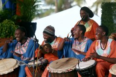 Drummers of Tomorrow play in rhythm.