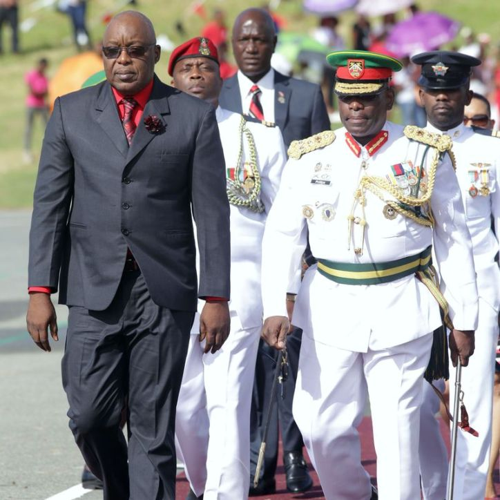 Chief Secretary Kelvin Charles arrives along with Brigadier General Archilus L.N. Phillips, Vice Chief of Defence Staff to the 2017 Tobago Independence Parade.