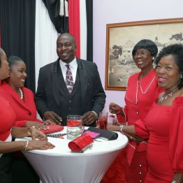 THA Secretaries enjoy a light moment at the reception following the Parade at the Assembly Legislature. From left are Nadine Stewart-Phillips, Secretary of Tourism, Culture and Transportation; Marisha Osmond, Assistant Secretary in the Office of the Chief Secretary; Clarence Jacob, Secretary of Settlements, Urban Renewal and the Public Utilities; Dr. Agatha Carrington, Secretary of Health, Wellness and Family Development; and Marslyn Melville-Jack, Secretary of Community Development, Enterprise Development and Labour.