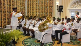 The Trinidad and Tobago Cadet Force play a medley for the attendees.