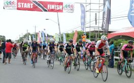 Cyclists pedal off for the first race of the Classic, the Shirvan Road circuit race.