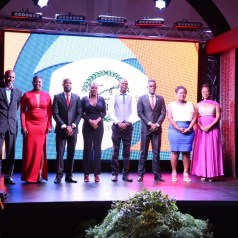 FROM LEFT; Assemblyman Jomo Pitt, Secretary of Sport And Youth Affairs, President- Latoyaa Roberts-Thomas; Vice President- Kern Johnson; Secretary- Rheanne Moore; Treasurer- Collin Edwards; Public Relations Officer- Kevon Mc Kenna; Trustee-Arlene Brebnor and Administrator of the Division of Sport & Youth Affairs Mrs. Wendy Guy-Hernandez.