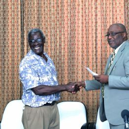 Bishop John Carrington is a recipient on behalf of the Tobago United Spiritual Baptist Assembly.