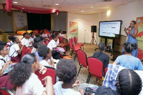 Pupils of Bishop's High School listen to the presentation of facilitator Carissa Daniel.