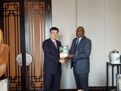 THA Chief Secretary Kelvin Charles presents Vice Mayor of the Zhuhai Municipal Government Zhu Qingqiao with the book Tobago—Capital of Paradise II at a luncheon meeting hosted by the Mayor on Wednesday (November 8, 2017).