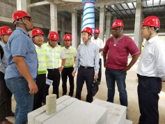 THA Chief Secretary Kelvin Charles and Infrastructure Secretary Kwesi Des Vignes with the CRCC team, left of Charles, Han Wenhua, Director, CRCC, Caribbean Ltd and, right of Charles, Wu Di, Vice General Manager, CRCC.