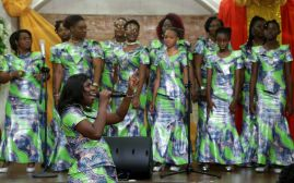 The Dunamis choir lead a praise and worship session.