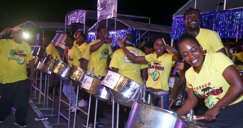 Tobago Pan-thers brightened up the night in their yellow shirts during the competition.