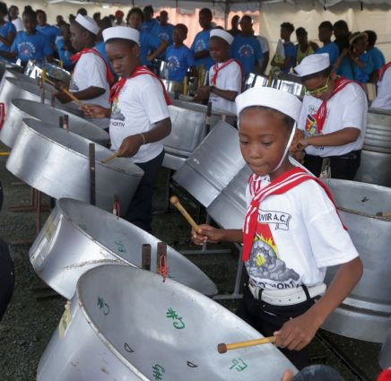 """Parlatuvier Anglican Primary school playing """"Sailing""""."""