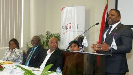 Secretary of Finance and the Economy Joel Jack, right, delivers opening remarks at the ExporTT development programme launch at the Victor E Bruce Financial Buidling in Scarborough on Friday (February 2). Seated from left are Minister of Trade and Industry Paula Gopee-Scoon, ExporTT Director Dr Cyrill Collier, ExporTT Chief Executive Officer Dietrich Guichard and T&T Fine Cocoa Company Director Ashley Parasram.