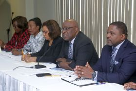 Governmental representatives met about the National Crime Prevention Programme (NCPP) on March 1, 2018. From left, Secretariat Manager of the National Crime Prevention Programme Cheryl St Louis, Permananent Secretary in the Ministry of Rural Development and Local Government Desdra Bascombe, Parliamentary Secretary in the Ministry of National Security Glenda Jennings-Smith, Chief Secretary Kelvin Charles and Deputy Chief Secretary and Secretary of Finance and the Economy Joel Jack.