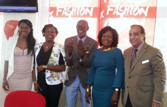 Tobago Fashion Coda organiser Don Grant, centre, takes the opportunity to highlight the sixth edition of the show. With him, from left, are fashion coordinator Antineil Blackman, Managing Director of Destination T&T Roxanne Colthurst, Secretary of Community Development, Enterprise Development and Labour Marslyn Melville-Jack and Magdalena Grand Beach and Golf Resort Manager Vinod Bajaj.