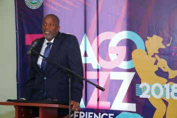 George Leacock, Chairman of the Tobago Festivals Commission, speaks during the event's launch.