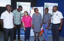 From left, goat trainer John Horsford, goat jockey Shaquille Harris, Director of Youth Development Praveen Bheem, Administrator in the Division of Sport and Youth Affairs Wendy Guy-Hernandez, film producer Wayne John and Youth Programme Coordinator Julien Skeete.