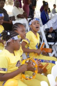 Hope Anglican Primary School drummers perform during the event.