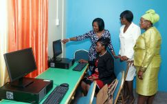 Tobago House of Assembly officials tour the facility. They are Assistant Secretary in the Office of the Chief Secretary Marisha Osmond, seated, and from left, standing, Secretary of Community Development, Enterprise Development and Labour Marslyn Melville-Jack, Secretary of Health, Wellness and Family Development Dr Agatha Carrington and schools supervisor III Sherry-Ann Rollocks-Hackett.