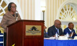 Acting Permanent Secretary, Central Administrative Services, Tobago, Bernadette Solomon-Koroma addresses the attendees at the conference.