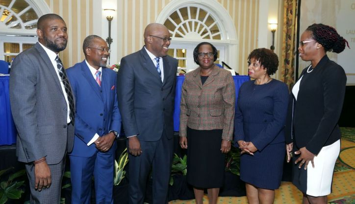 From left, FIU representative Kevin Radix, Acting Director Nigel Stoddard, Chief Secretary Kelvin Charles, Acting Permanent Secretary, Central Administrative Services, Tobago, Bernadette Solomon-Koroma, Deputy Director of Public Prosecutions Joan Honore-Paul, and FIU representative Avelon Perry.