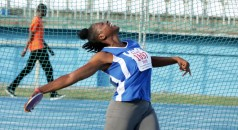Kieanne Blackman, representing UWI Track and Field, competes in the 1kg women's discus throw. Blackman won the event with a best effort of 40.77 metres.