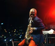 Saxophonist Ricardo Seales performs with the band Rebel.