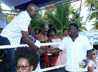 Prime Minister Dr. Keith Rowley, left, and THA Minority Leader Winston Duke.