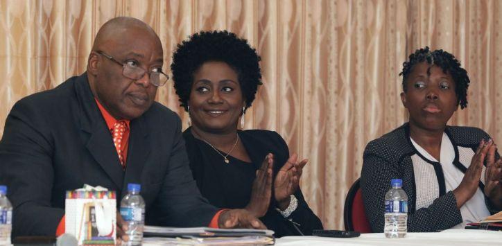 From left, Chief Secretary Kelvin Charles, featured speaker Criminologist Renee Cummings and Administrator in DEIE Sheryl Ann Solomon.