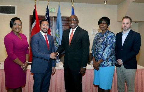 (L-R) Minister of Sport and Youth Affairs and Tobago West MP, Shamfa Cudjoe; National Security Minister, Stuart Young; Chief Secretary, Hon. Kelvin Charles; Health Secretary, Councillor Dr. Agatha Carrington and the US Embassy's Security Policy and Assistance Coordinator, Jason Hammontree.