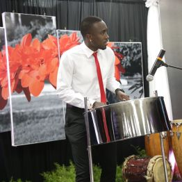 Kersh Ramsey plays a melody on the steelpan.