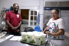 Chief Secretary Dennis visited Orange Hill Nature Ranch and learned about the making of yogurt and goat's cheese from owner Josefa Patience.