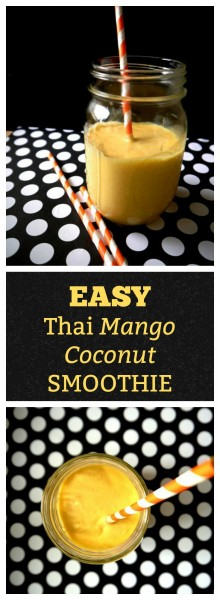 Once you make this super easy tropical Thai Mango Coconut Smoothie full of mango, coconut milk, and a hint of sweetened condensed milk, you will feel like you're sipping it on the beaches of Thailand!