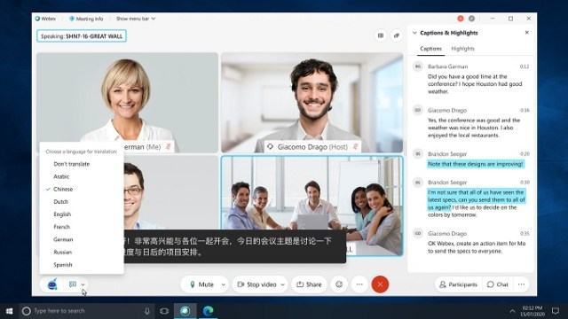 Among the 50 new Webex features: get real-time transcription of the active speaker (Mandarin shown). Each meeting attendee can choose the language they want without impacting other users.