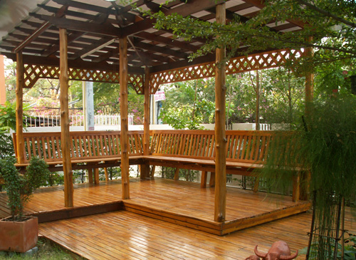 Custom Built Teak Wood Seating Area in Thailand