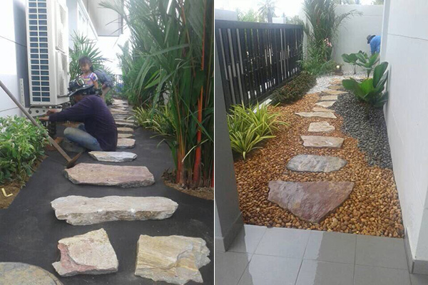 exotic hardscape and tropical landscaped