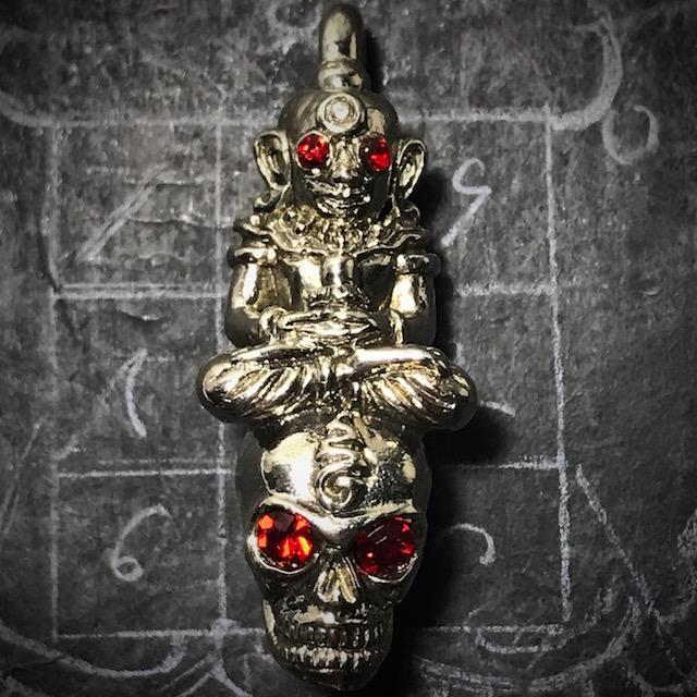 Pra Ngan Maha Sanaeh Gambling Amulet with Hoeng Prai Grasip Spirit Skull by Luang Phu Wiang Nuea Albaca