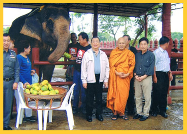 Pra Ajarn Daeng with Elephant