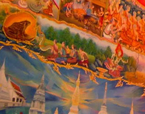 Buddhist Mural painting in the Temple