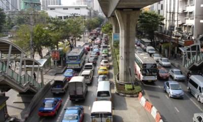 Bangkok Sky train and traffic