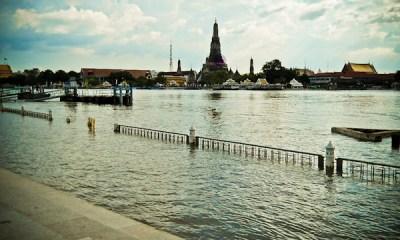 Banks of The Chao Phraya River flooded in Bangkok October 30