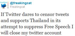 """Thailand's ICT permanent secretary Jeerawan Boonperm said Twitter's move to censor or block content regarded as offensive in particular countries was a """"welcome development""""."""