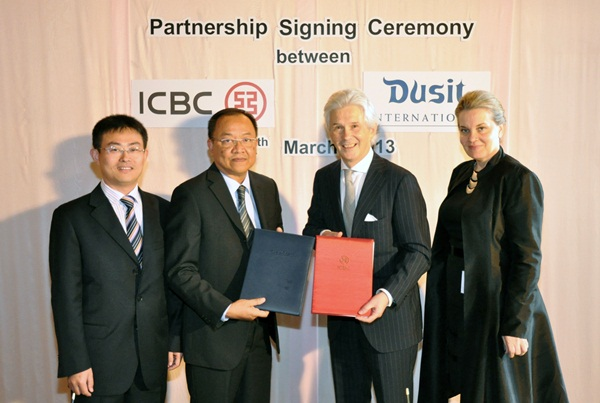 Dusit International signed a promotional partnership with the Industrial and Commercial Bank of China (ICBC Thai)