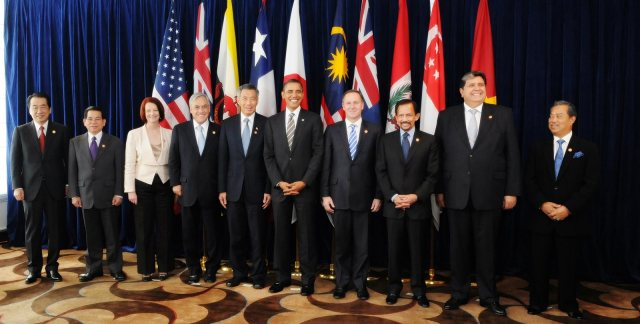 Leaders of TPP member states and prospective member states at a TPP summit in 2010.