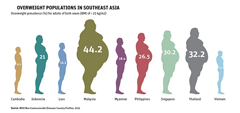 Overweight prevalence in South East Asia