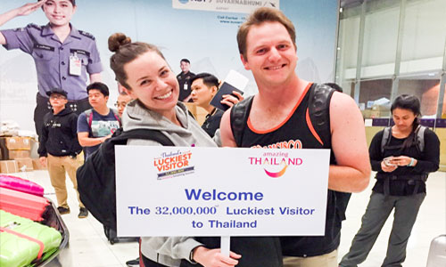 Mrs. Shelby Pastor, Thailand's 32 Millionth Visitor of 2016 is visiting from San Francisco