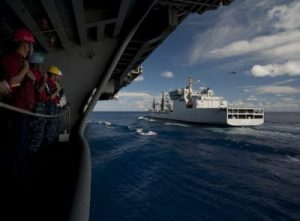 Sailors aboard the Nimitz-class aircraft carrier USS Carl Vinson (CVN 70) stand by as the ship goes alongside the Indian navy fleet oiler INS Shakti (A57) during the Malabar naval exercises in the Indian Ocean, 13 April 2012 (Photo: Reuters/Abaca Press).